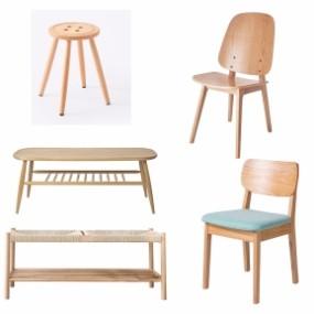 北欧茶几单椅组合3D模型【ID:227778477】
