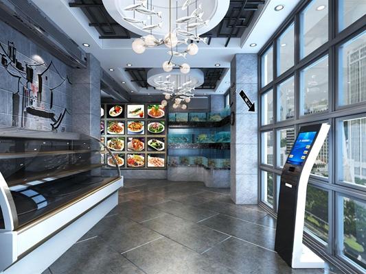現代餐廳過道3D模型【ID:428022866】