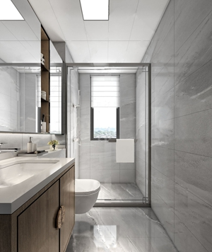 新中式卫生间 新中式卫浴 马桶 台盆 镜子 淋浴头