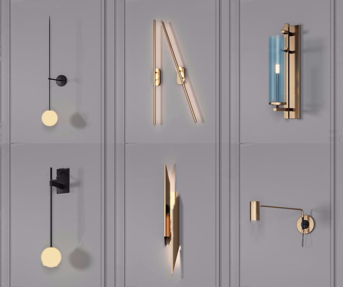 現代金屬壁燈3D模型【ID:743096903】