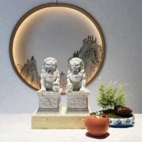中式装饰品组合3D模型【ID:236240527】