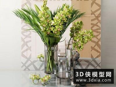 現代植物裝飾品組合國外3D模型【ID:929403863】