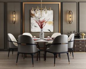 现代圆形餐桌椅边柜壁灯吊灯挂画组合3D模型【ID:327787415】