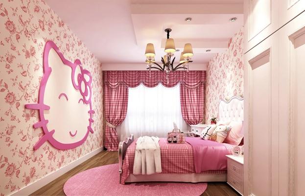 经典欧式粉色女孩儿童房3D模型【ID:414890668】