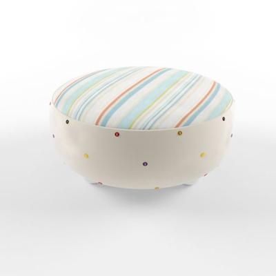 现代条纹圆形布艺沙发凳3D模型【ID:414891269】