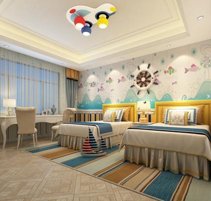 现代男孩儿童房3D模型【ID:414892582】