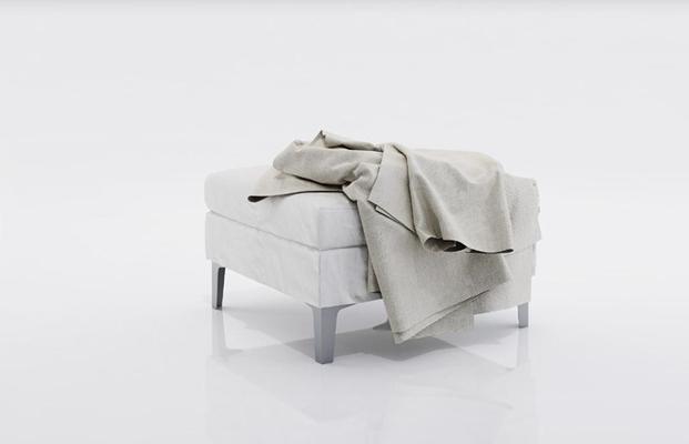现代白色方型布艺沙发凳3D模型【ID:414894241】