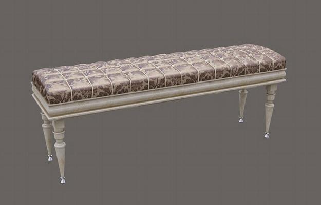经典欧式长方形布艺床尾凳3D模型【ID:414894455】