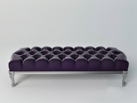 经典欧式紫色长方形布艺皮质床尾凳3D模型【ID:414894457】