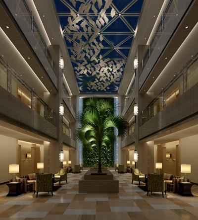 现代酒店中庭3D模型【ID:414914342】