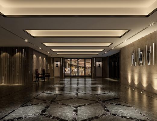 现代酒店过道3D模型【ID:414914849】