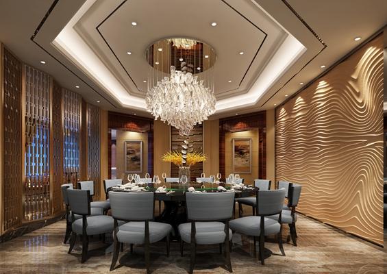 现代酒店宴会厅3D模型【ID:414916488】