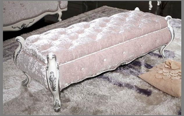欧式新古典粉色布艺床尾凳3D模型【ID:414936426】