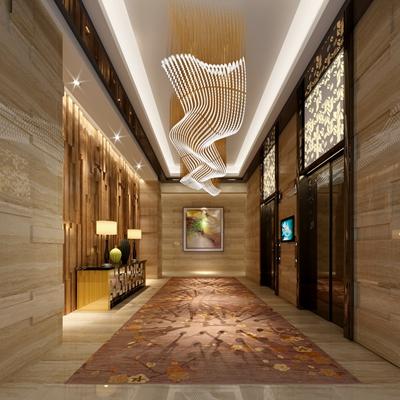 现代酒店电梯间3D模型【ID:414938927】
