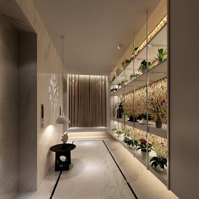 现代酒店电梯间3D模型【ID:414938942】