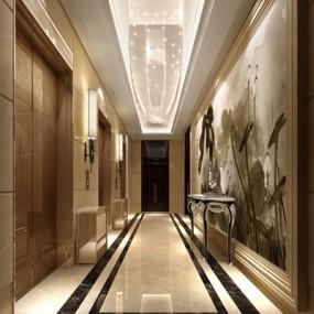 其他混搭酒店电梯间3D模型【ID:414938945】