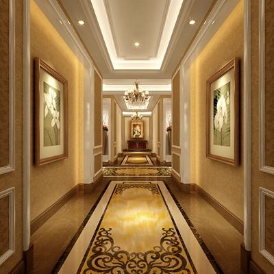 经典欧式金色酒店玄关过道3D模型【ID:414939806】