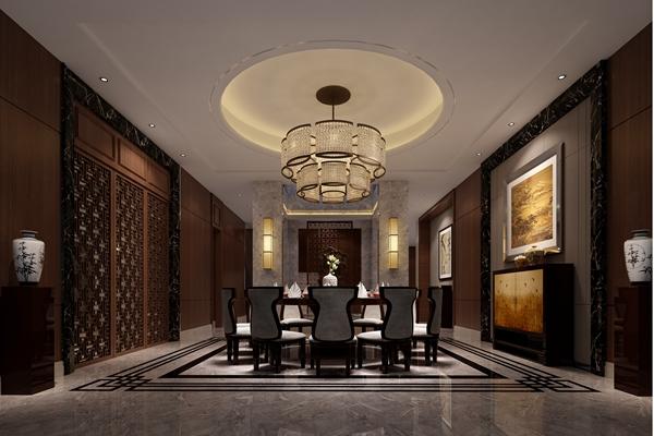 新中式酒店宴会厅3D模型【ID:414948420】