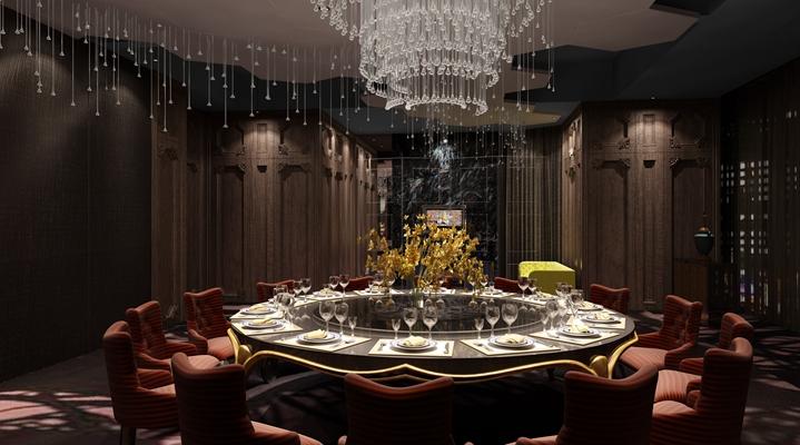 欧式简约酒店宴会厅3D模型【ID:414951486】