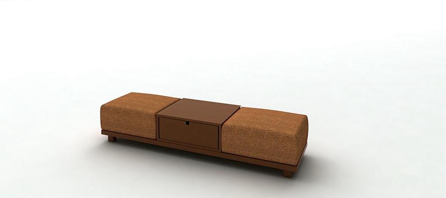 现代棕色长方形床尾凳3D模型【ID:414955411】