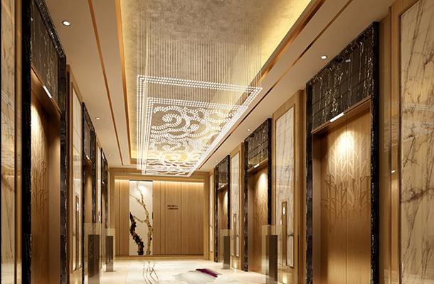 现代金色酒店电梯间3D模型【ID:414958953】