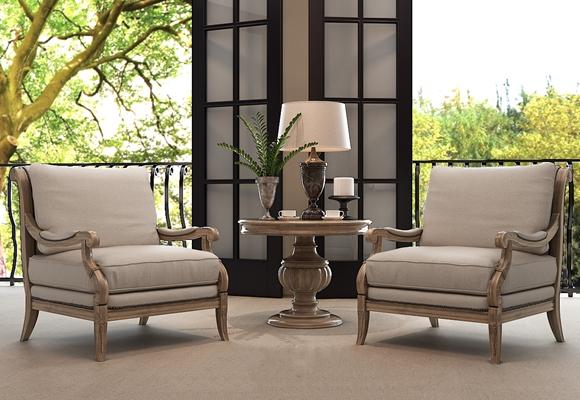 传统美式椅子茶几组合3D模型【ID:414961088】