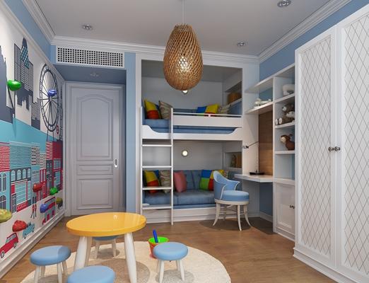 现代男孩儿童房3D模型【ID:414961541】