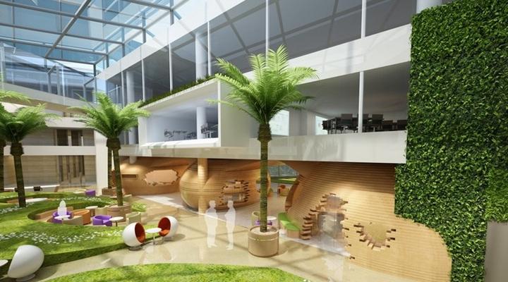 现代绿色酒店中庭3D模型【ID:414963367】