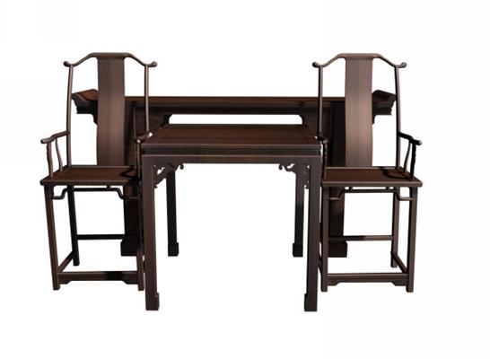 传统中式原木色木艺椅子茶几组合3D模型【ID:414968061】