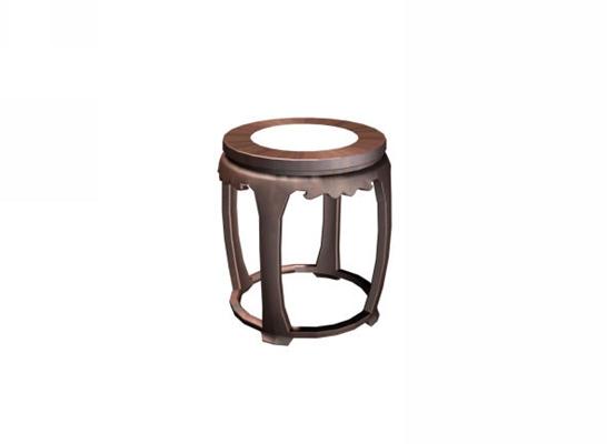 传统中式原木色圆形木艺凳子3D模型【ID:414968397】