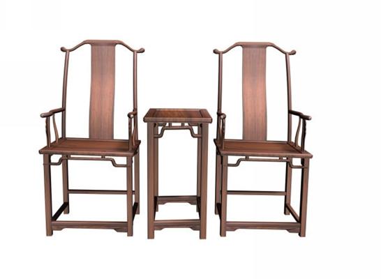 传统中式原木色木艺椅子茶几组合3D模型【ID:414972010】