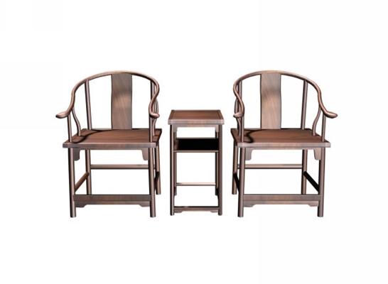 传统中式原木色木艺椅子茶几组合3D模型【ID:414972043】