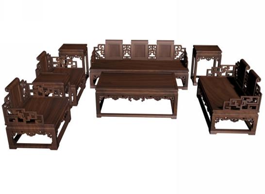 传统中式原木色木艺椅子茶几组合3D模型【ID:414985026】