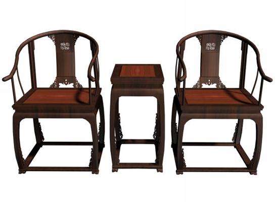 传统中式原木色木艺椅子茶几组合3D模型【ID:414990012】
