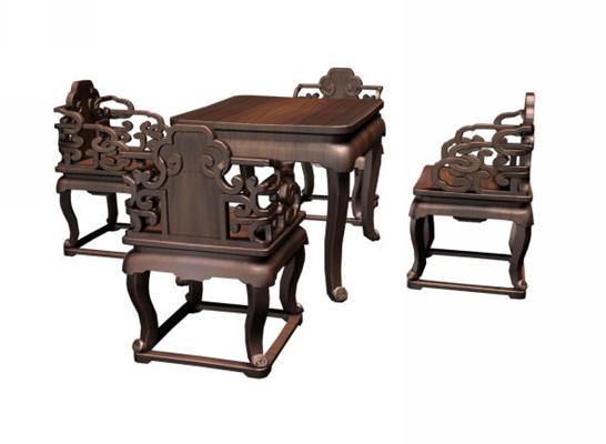 传统中式原木色木艺椅子茶几组合3D模型【ID:414994095】