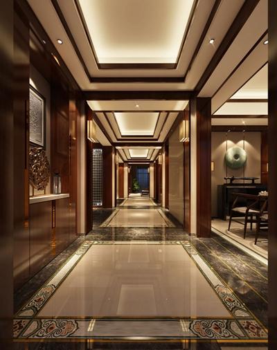 新中式酒店玄关过道3D模型【ID:415014835】