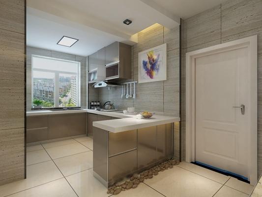 现代家居封闭厨房3D模型【ID:415039968】