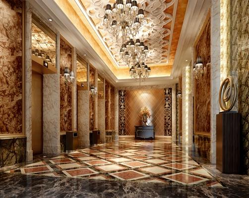 欧式古典酒店电梯间3D模型【ID:415054919】