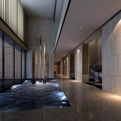 现代酒店玄关过道3D模型【ID:415057864】