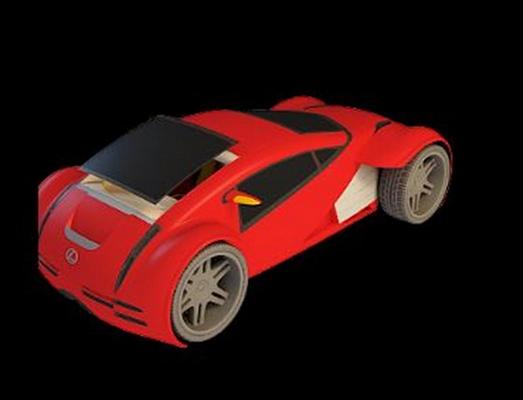 红色玩具火车3D模型【ID:415064927】