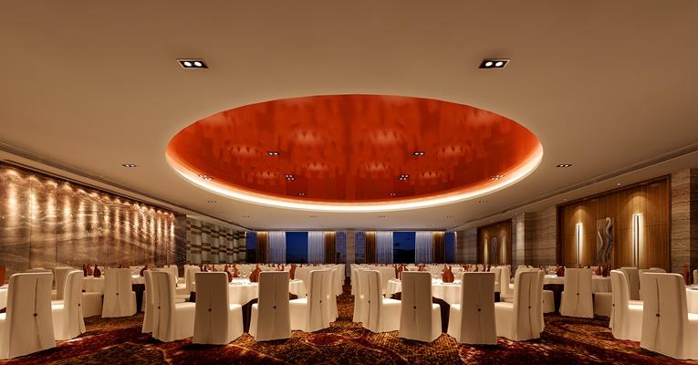 欧式简约酒店宴会厅3D模型【ID:415067482】