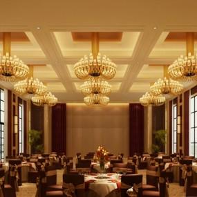 经典欧式酒店宴会厅3D模型【ID:415069495】