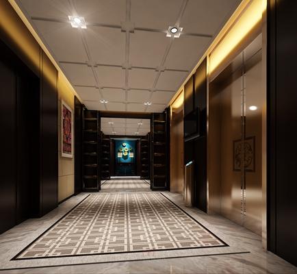 新中式酒店电梯间3D模型【ID:415073973】