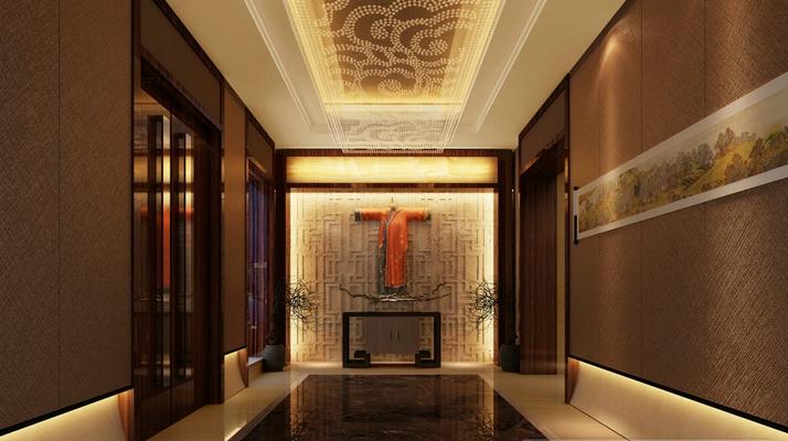 新中式酒店玄关过道3D模型【ID:415078825】