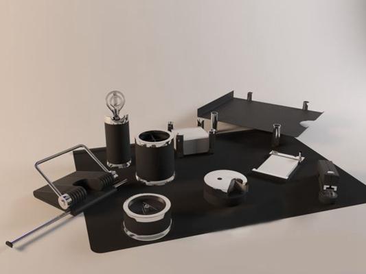 黑色办公用品组合3D模型【ID:415079593】