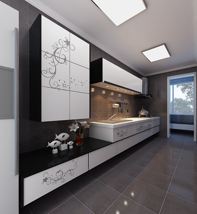 现代家居封闭厨房3D模型【ID:415080908】