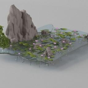 假山山水3D模型【ID:415085463】