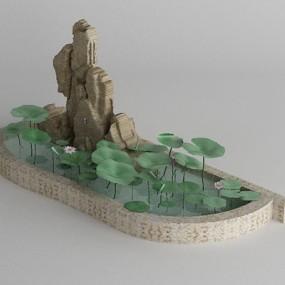 假山山水3D模型【ID:415085484】
