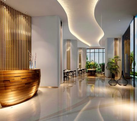 现代酒店大堂3D模型【ID:415086221】