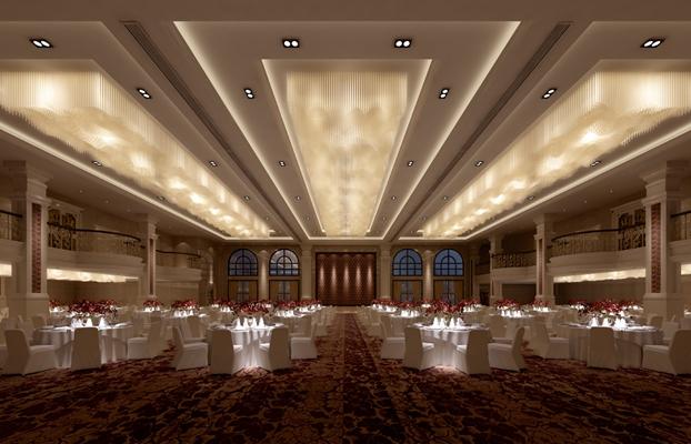 欧式简约酒店宴会厅3D模型【ID:415088465】